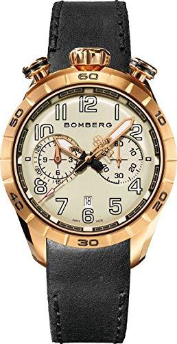 Bomberg BB-68 Racer orologio cronografo uomo oro rosa PVD cinturino in pelle nera NS44CHPPK.209.9