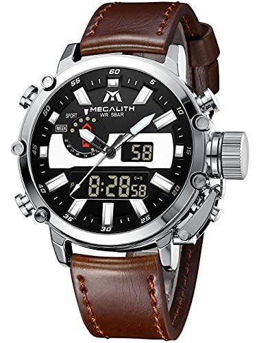 MEGALITH Reloj Hombre Relojes Militares Digitale Deportivos Cronometro LED Impermeable Relojes Hombre Multifuncion Esfera Grande Relojes Analógicos Digitales Hombre Alarma Fecha
