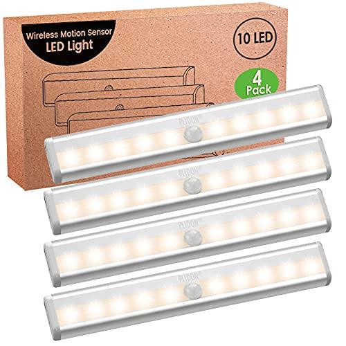 Luz LED Armario Sensor Movimiento, 4 Piezas 3000K Regleta LED a Pilas Luces LED Cocina Bajo Mueble Sin Cable Con Tira Magnética Adhesiva Luz Nocturna LED Inalámbrica Para Escaleras Interiores Pasillo