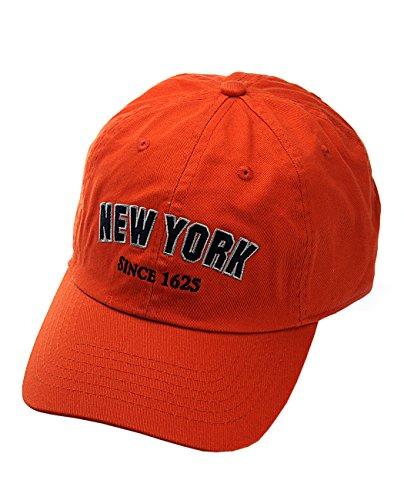 NYFASHION101 Unisex NYC New York City Embroidered Adjustable Low Profile Cap, NY11, Orange