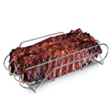 Extra Long 304 Stainless Steel Rib Rack, G.a HOMEFAVOR Smoker Roasting Stand, Holds up 3 Full Racks of Ribs for 18' or Larger Grills (15.8' /40cm Length)
