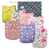 Pink Blossom Baby Cloth Pocket Diapers 7 Pack, 7 Bamboo Inserts, 1 Wet Bag by Nora's Nursery