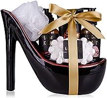 Accentra Velvet Luxury Badeset, Geschenkset in wunderschönem Keramik-Pump schwarz-rot, 6-teiliges Luxus Beautyset für ein...