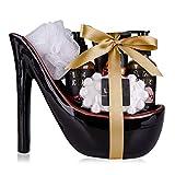 Accentra Velvet Luxury Badeset, Geschenkset in wunderschönem Keramik-Pump schwarz-rot, 6-teiliges...