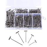 Gydandir 450 Pieces Nickel Plated Steel T-Pins Assorted Size 1 Inch, 1-1/4 Inch, 1-1/2 Inch, 1-3/4 Inch, 2 Inch