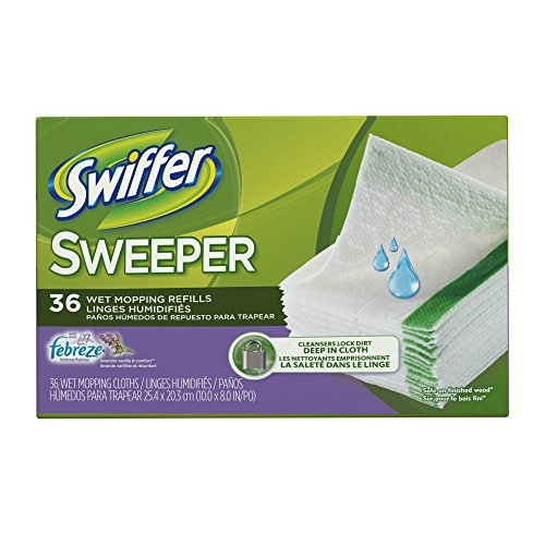 Swiffer Sweeper Wet Mop Pad Refills for Floor Mopping and Cleaning, All Purpose Multi Surface Floor Cleaning Product, Lavender Vanilla and Comfort Scent, 36 Count