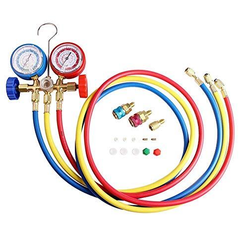 aheadad AC Herramienta de Aire Acondicionado Conjunto de manómetro de diagnóstico para R134A R12 R22 R502 refrigerantes 3 Colores de la Manguera