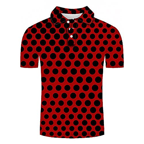 GXRGXR 3D Printed Polo Shirts - Creative Lapel Button Short Sleeve Breathable Shirt -Summer Unisex Abstract Circle Mesh Graphic Sport Plus Size T-Shirt for Men Women Tee Top,Red,5XL