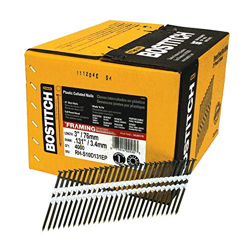 BOSTITCH Framing Nails, Round Head, 21-Degree, Plastic Collated, 3-Inch x .131Inch, 4000-Pack (RH-S10D131EP)