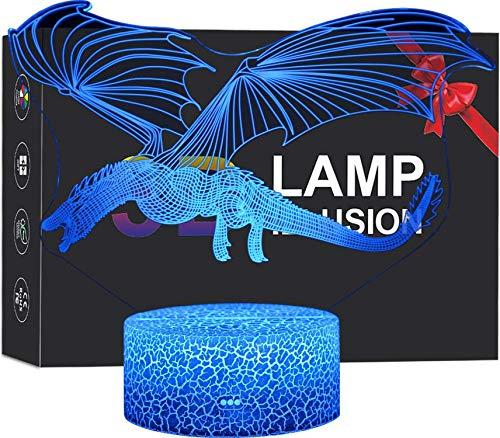 Flow.month Dinosaur Toy Night Lamp for Boys, 3D Illusion Pterosaur Night Light Touch Remote Control LED Nightlight, Kids Birthday Children Bedroom Decor Lighting