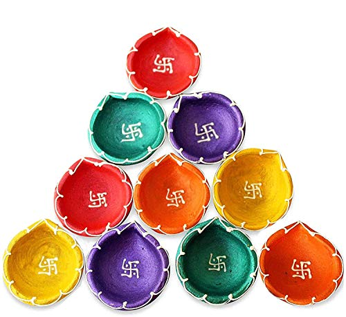 Craftsman 10 Pc Set Clay Diya with Cotton Wicks for Diwali Decoration. Traditional Handmade Terracotta Earthen Oil Lamp of Natural Mitti. Welcome Deepawali Indian Gift Items Vilakku Multi Color Dia