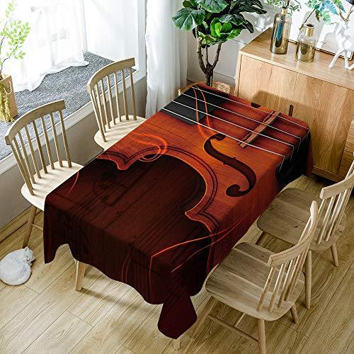 JKRFV Party Tischdecken Vintage Gitarre Abwaschbar Baumwolle und Leinen Tischtuch Rechteck Couchtisch Pflegeleicht Schmutzabweisend Tischwäsche 140cmx140cm