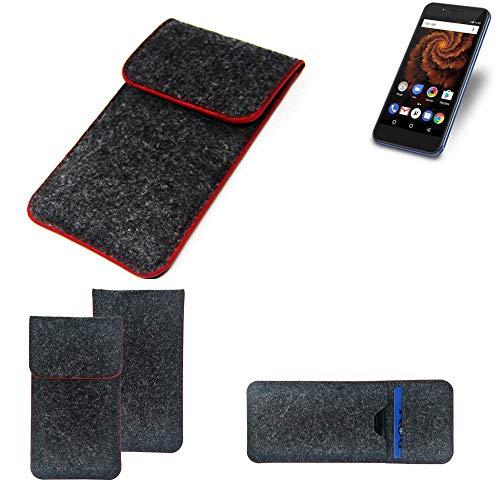 K-S-Trade® Handy Schutz Hülle Für Allview X4 Soul Mini S Schutzhülle Handyhülle Filztasche Pouch Tasche Case Sleeve Filzhülle Dunkelgrau Roter Rand