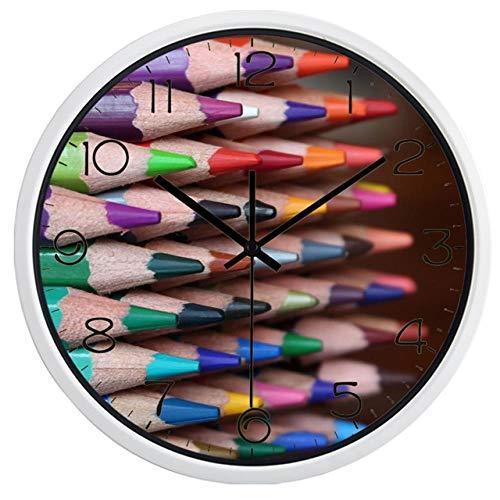 Horloge Murale Coloré Crayon Stub Image Horloge Murale Enfants Chambre Boutique Horloge 14 Pouces B634W