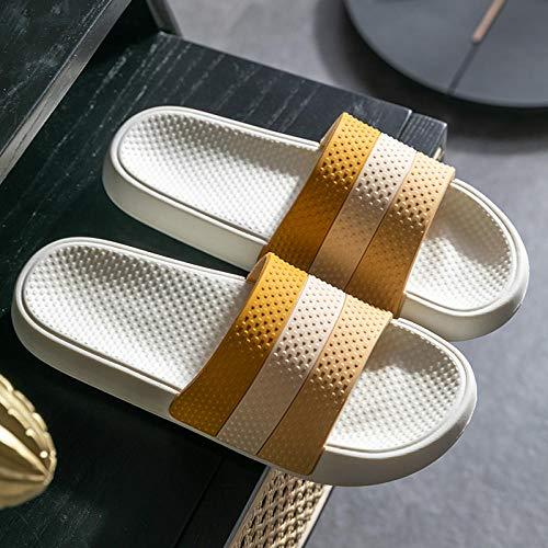 Ducha Sandalias Casa Interior,Los Hombres Usan Sandalias y Zapatillas para el hogar, Zapatos Antideslizantes para el baño en el hogar-37-38_Yellow,Mulas Sandalias Sin Cordones