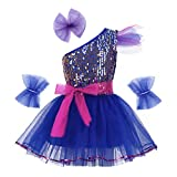 MSemis Kids Girls Hiphop Ballet Jazz Dance Outfits One-Shoulder Sequins Dress with Hairclip Wristband and Belt Set Blue 8-10