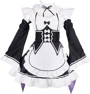CHANGL, Disfraz de Cosplay Halloween Carnival Re: Zero/Life en un Mundo Diferente de Cero Ram Rem Maid Delantal Uniforme Trajes de Vestir con Accesorios
