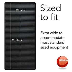 Resilia Heavy-Duty Protective Hard Floor Mat-for Exercise Equipment, Black, Dual Pad, (36 Inches W x 78 Inches L)
