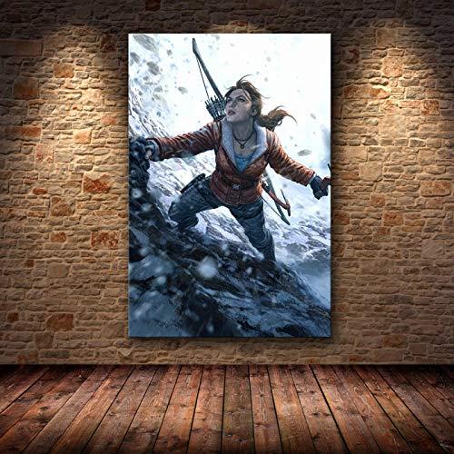 Yiwuyishi La decoración del Cartel Tomb Raider Pintura sobre Lienzo Pintura en HD sobre Lienzo Pinturas Sala de Estar Decoración 50x70cm P-908