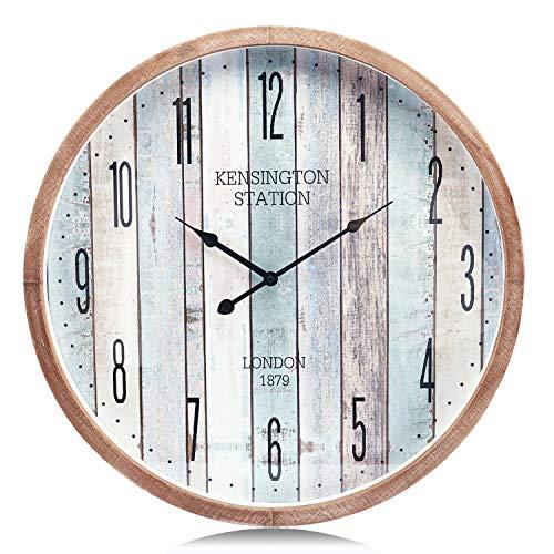 Lafocuse 55cm Reloj de Pared Marino Madera Grande Reloj Cuarzo Silencioso Océano Multicolor Rustico para Bar Salon Comedor Dormitorio