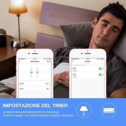 Presa Smart Aunics Presa Alexa Italiana Compatibile con Amazon Alexa, Google Home, IFTTT, Presa Intelligente, 16A, Controllo Energia, Wi-Fi 2,4Ghz, Smart Life,Tuya, Smart plug per Casa- No Adattatore