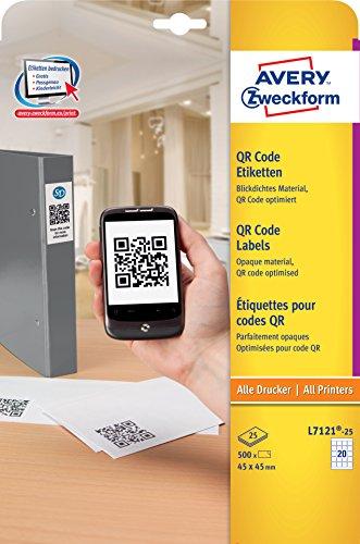 Avery Zweckform L7121-25 selbstklebende QR Code Etiketten (A4, blickdicht, zum Bedrucken, 45x45 mm, 500 QR-Code Aufkleber auf 25 Blatt, quadratische Klebeetiketten, für alle A4-Drucker) weiß