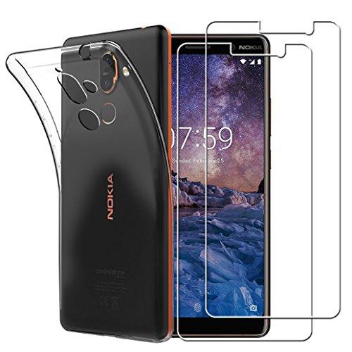 Yoowei Cover Nokia 7 Plus Trasparente + [2-Pack Pellicola Protettiva in Vetro Temperato], Morbida TPU Silicone Ultra Sottile Anti-Scratch Custodia per Nokia 7 Plus