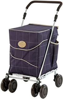 Sholley ® Deluxe Shopping Trolley, Grocery Cart Utility Cart 4 Wheels Light and Easy to Push, Foldable, Height & Angle Adjustable Handle, Strong & Stable Aids Walking, Mens & Ladies Design (Mulberry)