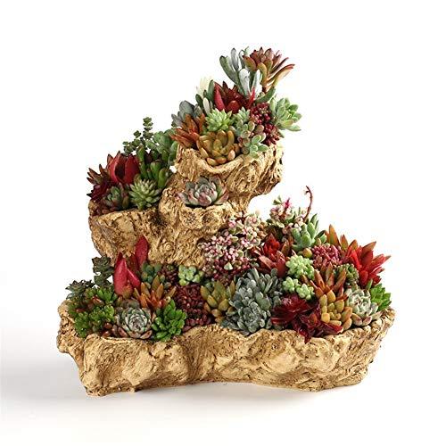 WBFN Pots de Plantes,Maison en Bois Creative charnue Pot de Fleurs en résine Pot potflower de Bureau Couleur Chair Main, for Les Plantes d'intérieur Bureau extérieur Balcon Décor Cadeau