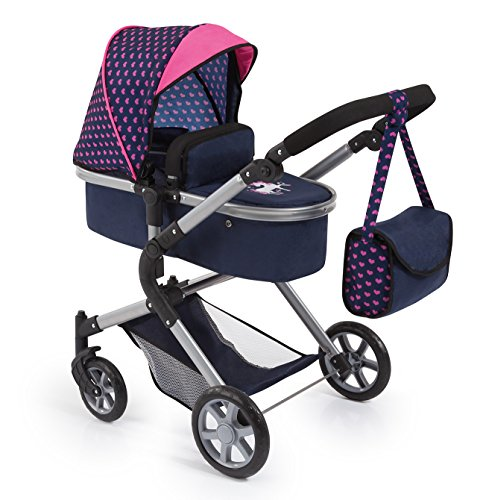 Bayer Design 18154AA City Neo Puppenwagen mit Wickeltasche und Einkaufskorb / umwandelbar in einen Sportwagen / höhenverstellbar / Design: Herzchen, Einhorn / dunkelblau, pink