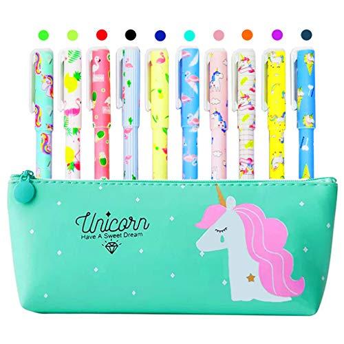 Estuche de unicornio con 10 bolígrafos coloridos de unicornio y flamencos para regalo de niñas, Maomaoyu Lindo unicornio de colores de gel para niñas de 4, 5, 6, 7, 8, 9, 10, 11, 12 años, verde