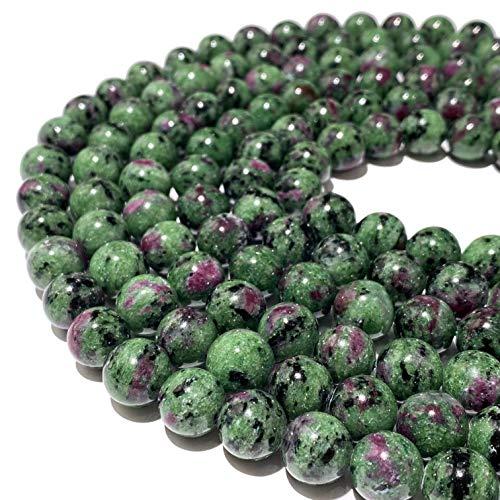 [ABCgems] Tanzania Dark Ruby in Zoisite AKA Anyolite (Occasional Red Ruby in Beautiful Green Zoisite) 12mm Smooth Round Natural Semi-Precious Gemstone Healing Energy Beads