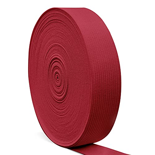 Red Elastic Bands for Sewing 1 Inch, Hengiee Braided Elastic for Wigs, Waistband, Skirt, Pants, Headband, Bed Sheets, Kids Clothes, Craft DIY Projects 12 Yard