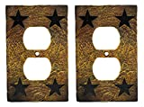 Western Star Light Switches - Ebros Set of 2 Novelty Rustic Country Western Stars Cowboy Silhouette Textured Resin Wall Electrical Switch Outlet Cover Plates (Double Receptacle Outlet)