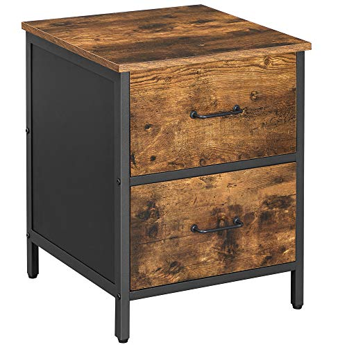 VASAGLE Nachttisch, Nachtkommode, Beistelltisch mit 2 Schubladen, Stahlrahmen, 45 x 45 x 55 cm, für Schlafzimmer, Wohnzimmer, vintagebraun-schwarz LET069B01