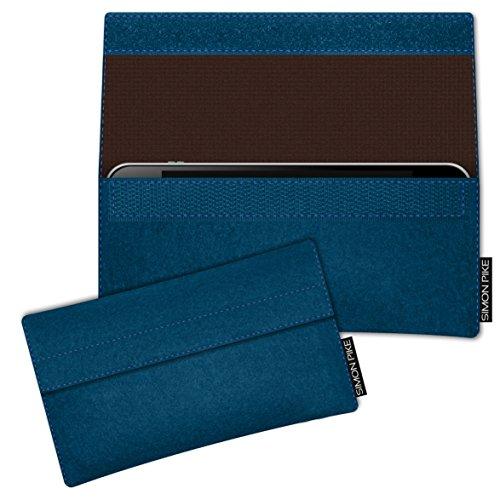 SIMON PIKE Hülle Tasche kompatibel mit Microsoft Surface Duo | Filztasche New York in 2 Petrol aus Filz (echtem Wollfilz) Handyhülle