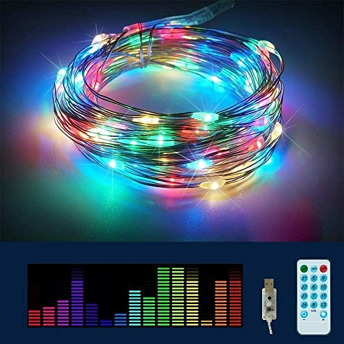 Tasodin Fairy String Lights USB Powered with Remote, 33ft 100 LED Multi Color Decorative Pulse String Lights for Outdoor, Indoor, Home, Party, Christmas, Garden, Patio Decoration