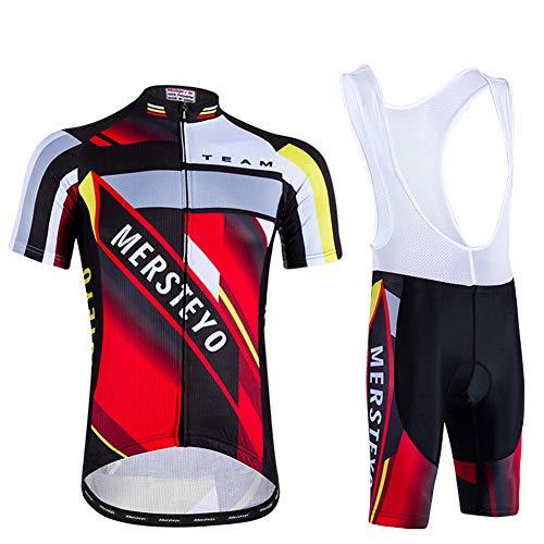 IJNUHB Fietskleding voor heren, korte mouwen, fietsshirt voor outfits, racefiets, gevoerd, fietsbroek, damesbroek, outdoor, modieus ademend shirt