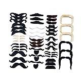 thematys Faux Moustache à Coller sur 48 pièces - Costume pour Adultes et Enfants -...