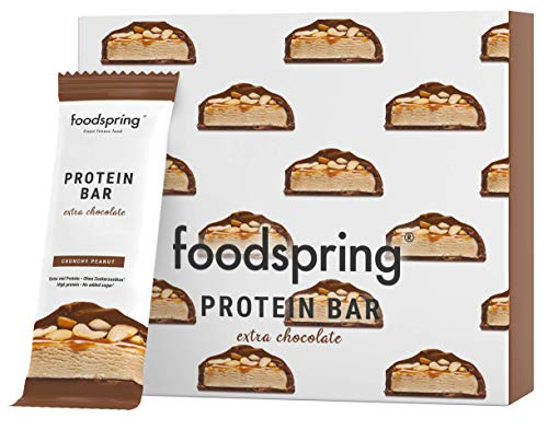 foodspring Protein Bar Extra Chocolate, Crunchy Peanut, 12 x 65 g, fijnste chocolade, 90% minder suiker, rijk aan proteïne