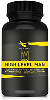 High Level Man Ultra Premium Multivitamin | Real Whole Food Blend | KSM-66®, CoQ10, Lycopene | Maximum Bioavailability | Total Health, Stress Response, Mental Clarity, Concentration, Energy + Vigor