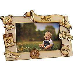 Bilderrahmen mit Namen und Geburtsdaten Geschenke zur Geburt Geschenke für das Babyzimmer erstes Jahr Babygeschenke für Junge und Mädchen Bildrahmen mit Gravur Personalisiert Teddybär Motiv Zur Geburt