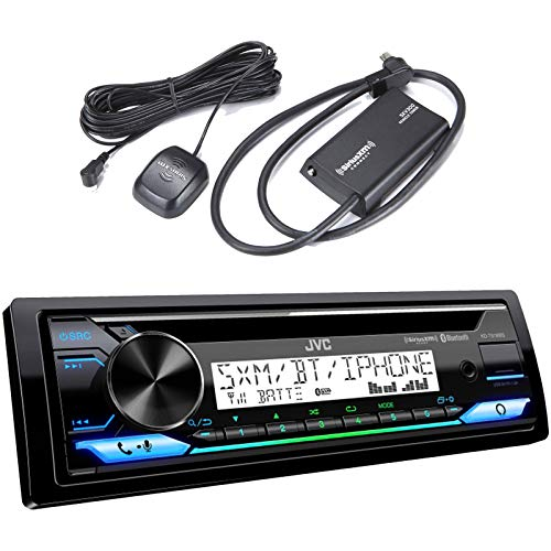 JVC KD-T91MBS Single DIN in-Dash Car Bluetooth CD Player USB AUX AM/FM Radio Stereo Receiver- Bundle Combo with SiriusXM Satellite Radio Connect Vehicle Tuner Kit