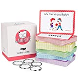 Gamenote Sight Words Flash Cards with Pictures & Sentences - 220 Dolch Big Word Reading Flash Card from Pre K to 3rd Grade (Include 5 Rings)