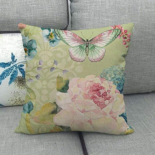 LPLH Mariposa Flores y Plantas Pintura Moderna Pintada Simple cifrado de Lino Funda de Almohada de Lino Fino Funda de cojín Ym167-2_45 * 45cm