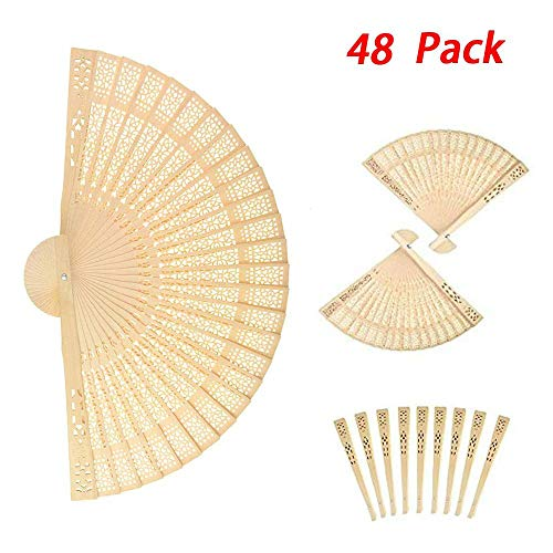 6MILES 48 Pcs Chinese Sandalwood Scented Wooden Openwork Personal Hand Held Folding Fans for Wedding Decoration Birthdays Home Gift