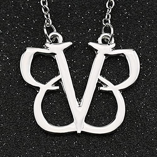 SPACELQ Black Veil Brides Necklace Andy Six Rock Band BVB Logo Silver Color Colgante Joyería Punk Hot Punk para Hombres Mujeres Venta al por Mayor