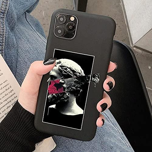 LIUYAWEI Art Funda de teléfono de Silicona Suave para iPhone 12 Mini 11 Pro MAX XS 6s 7 8 SE2020 Contraportada Negra de TPU, 22159, para iPhone XS MAX