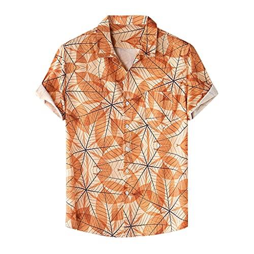 SCDZS Camisa de Verano para Hombre, Blusa Transpirable de Manga Corta con Solapa Estampada, Ropa de Calle, Camisas Hawaianas Informales, botón Retro (Color : Orange, Size : XXL Code)