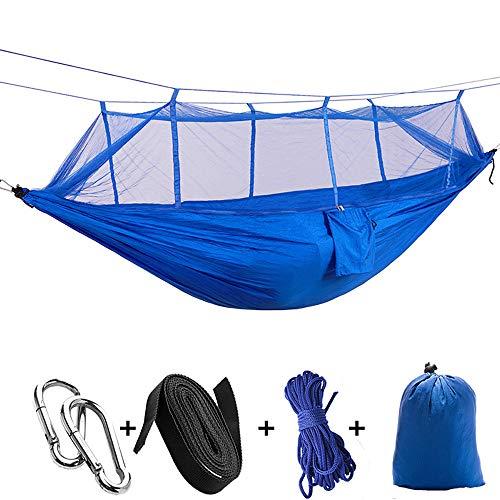 Outdoor draagbare camping hangmat voor 1-2 personen, High Resistance Parachute Stof Hangmat met klamboe Hunting en slapen Swing,Blue (blue net)